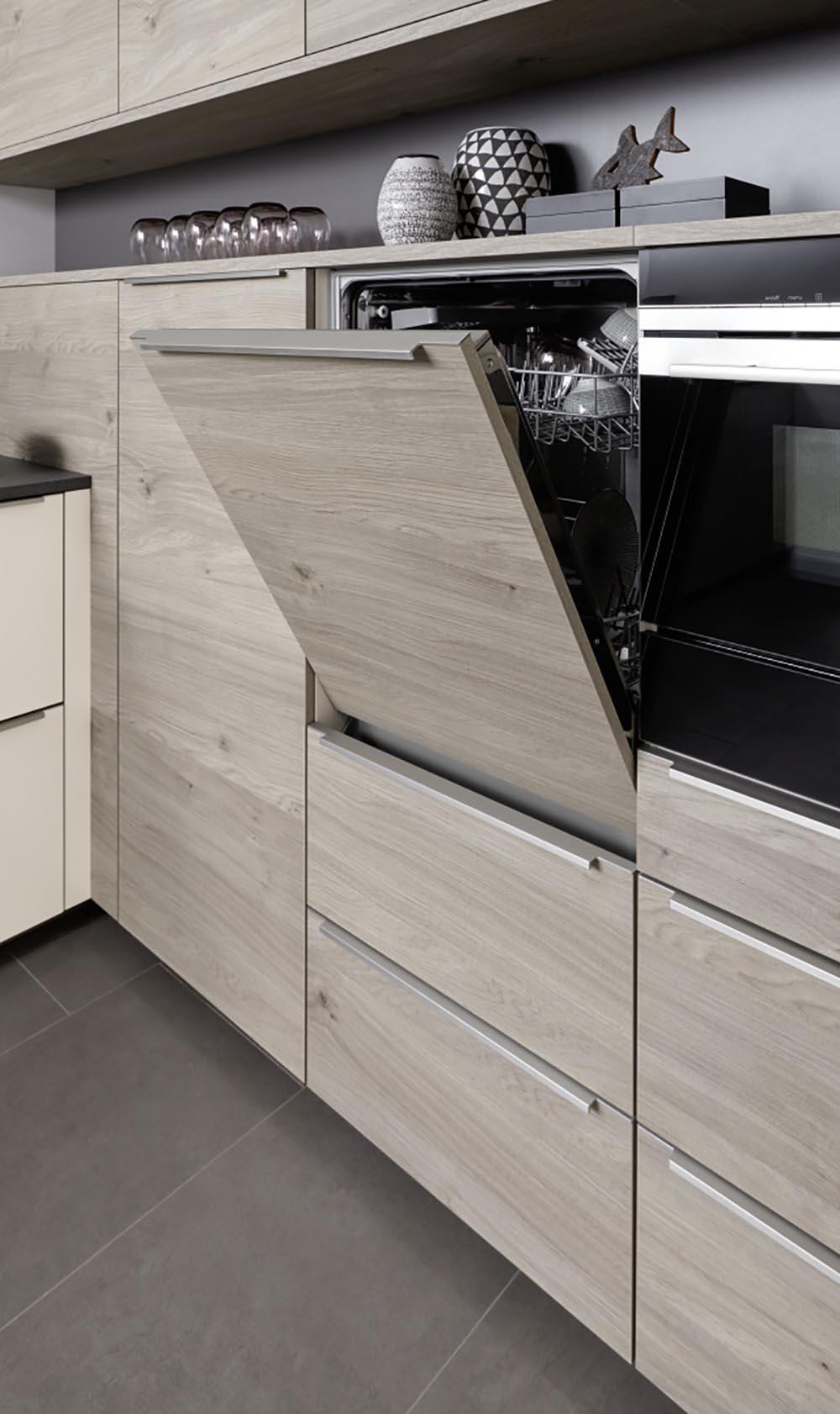 Effet bois pour meuble tiroirs électroménager intégré lave vaisselle four