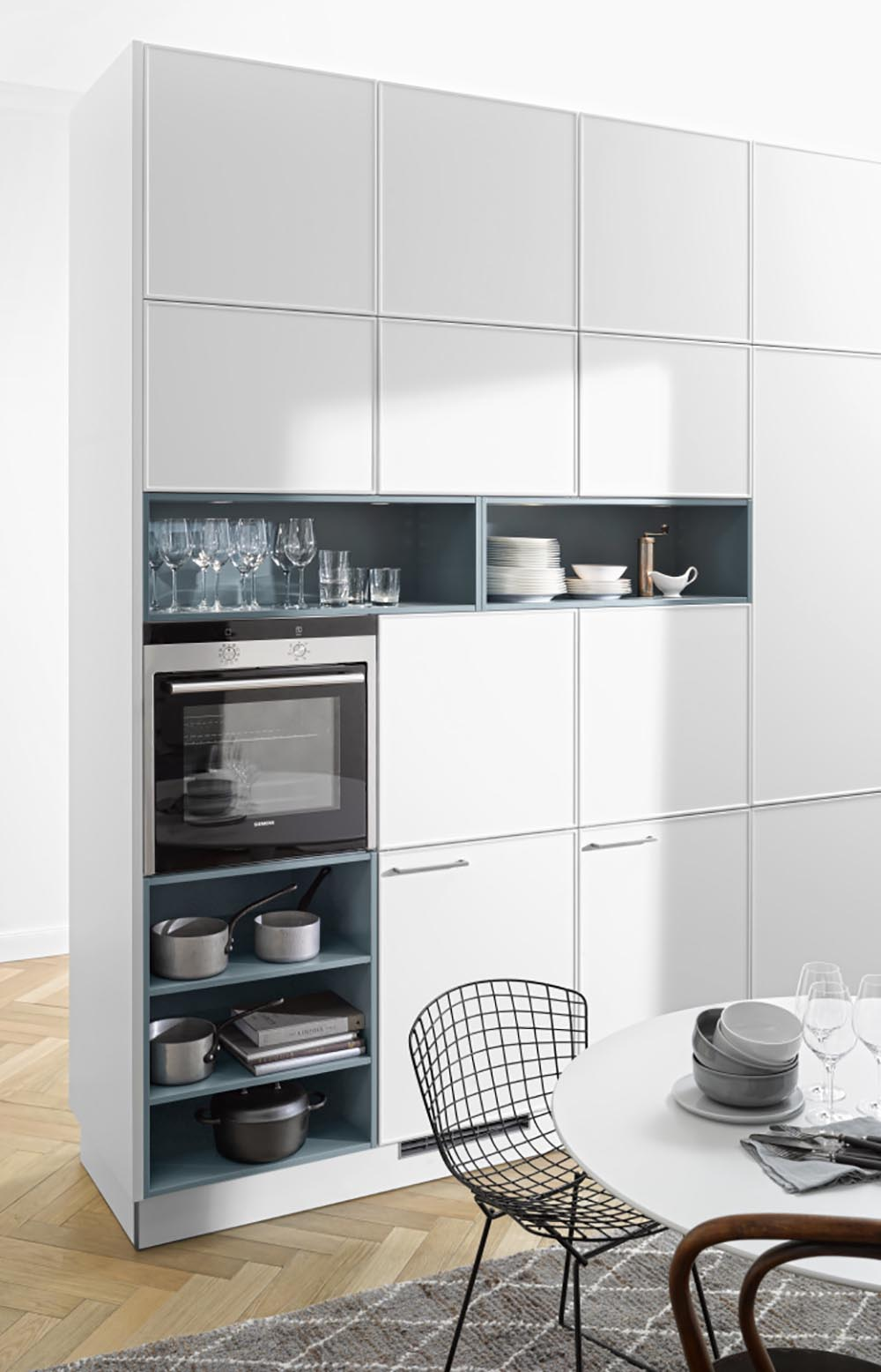 mur de cuisine bloc complet avec rangements décoration et électroménager four vaisselle intégrés