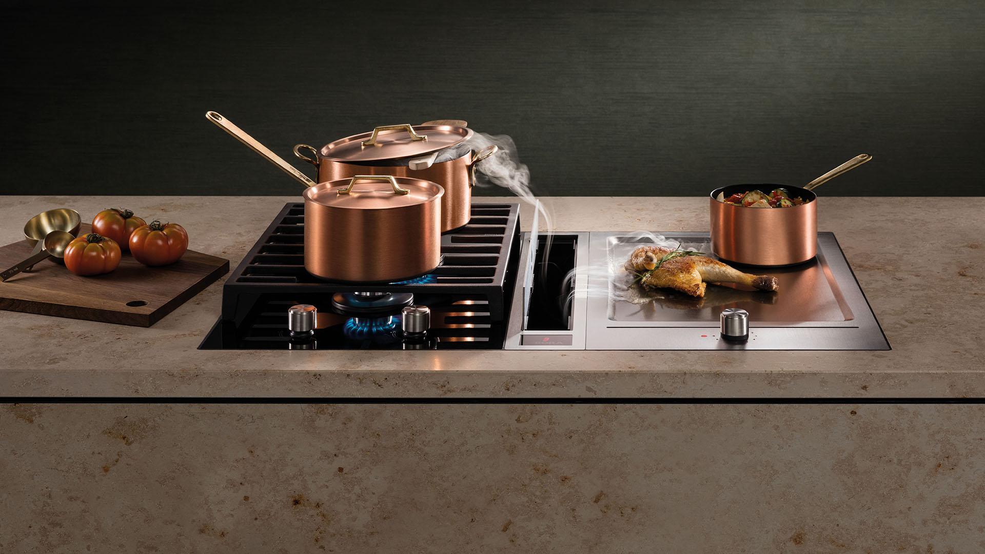 aspiration des vapeur et des odeurs lors de la cuisson des aliments pour cuisine équipée moderne