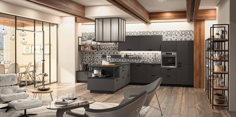 Cuisine design sur mesure ouverte avec salon moderne