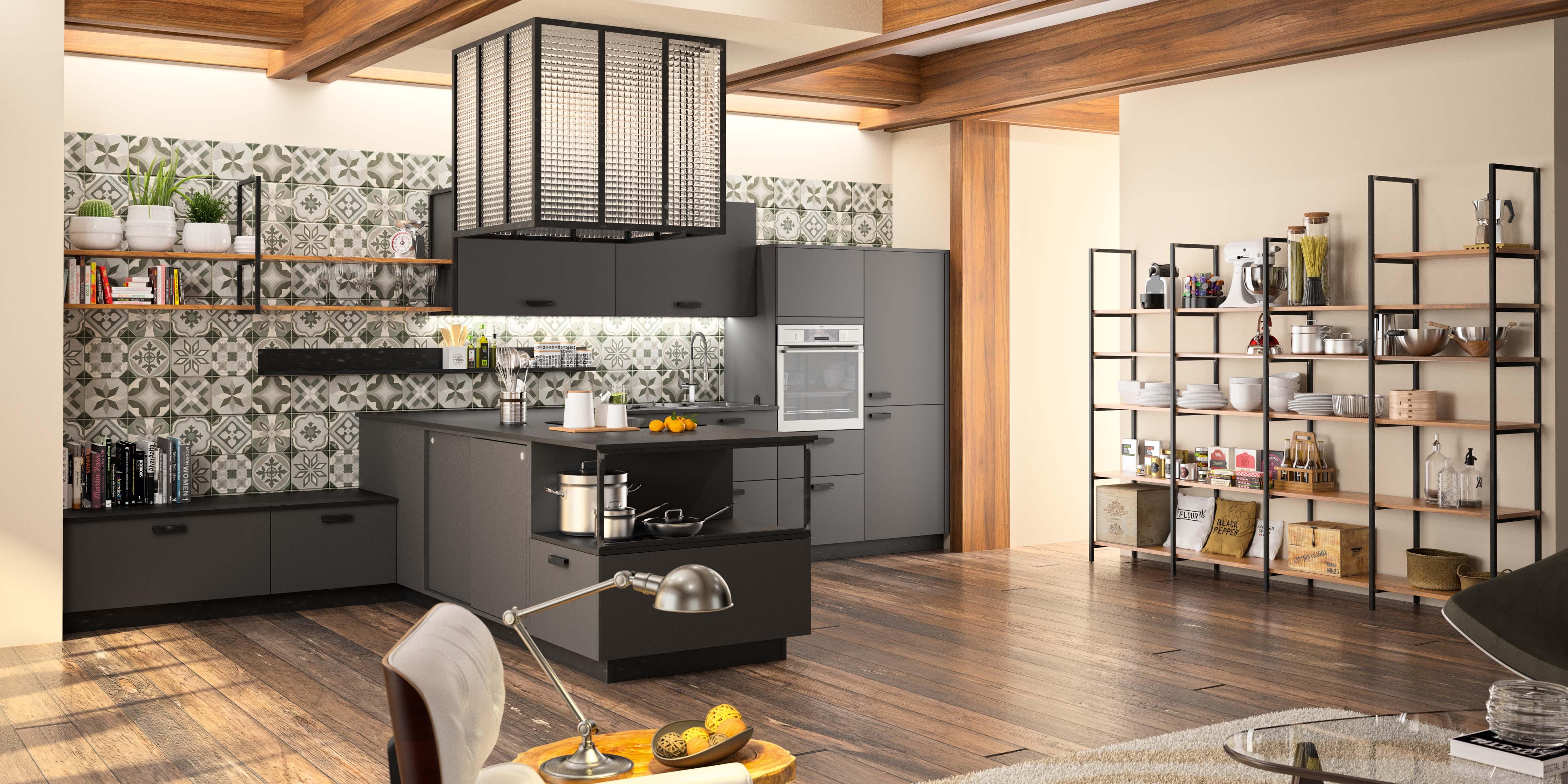 Grande cuisine contemporaine Morel meubles épurés industriel