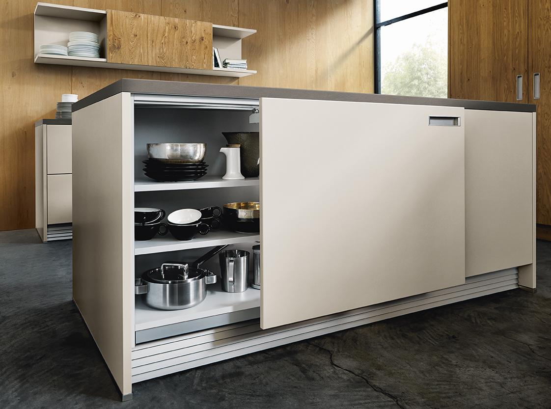 Rangement meuble pour cuisine blanche bois îlot central