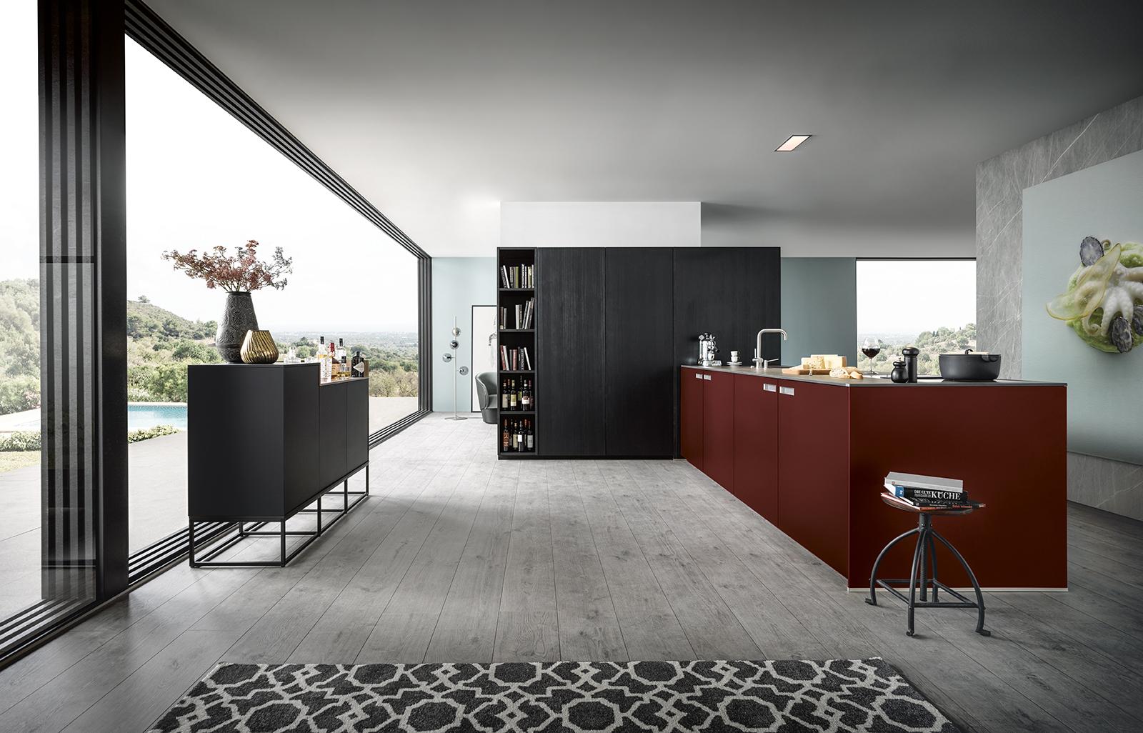 cuisine ouverte avec îlot central moderne design chic haut de gamme