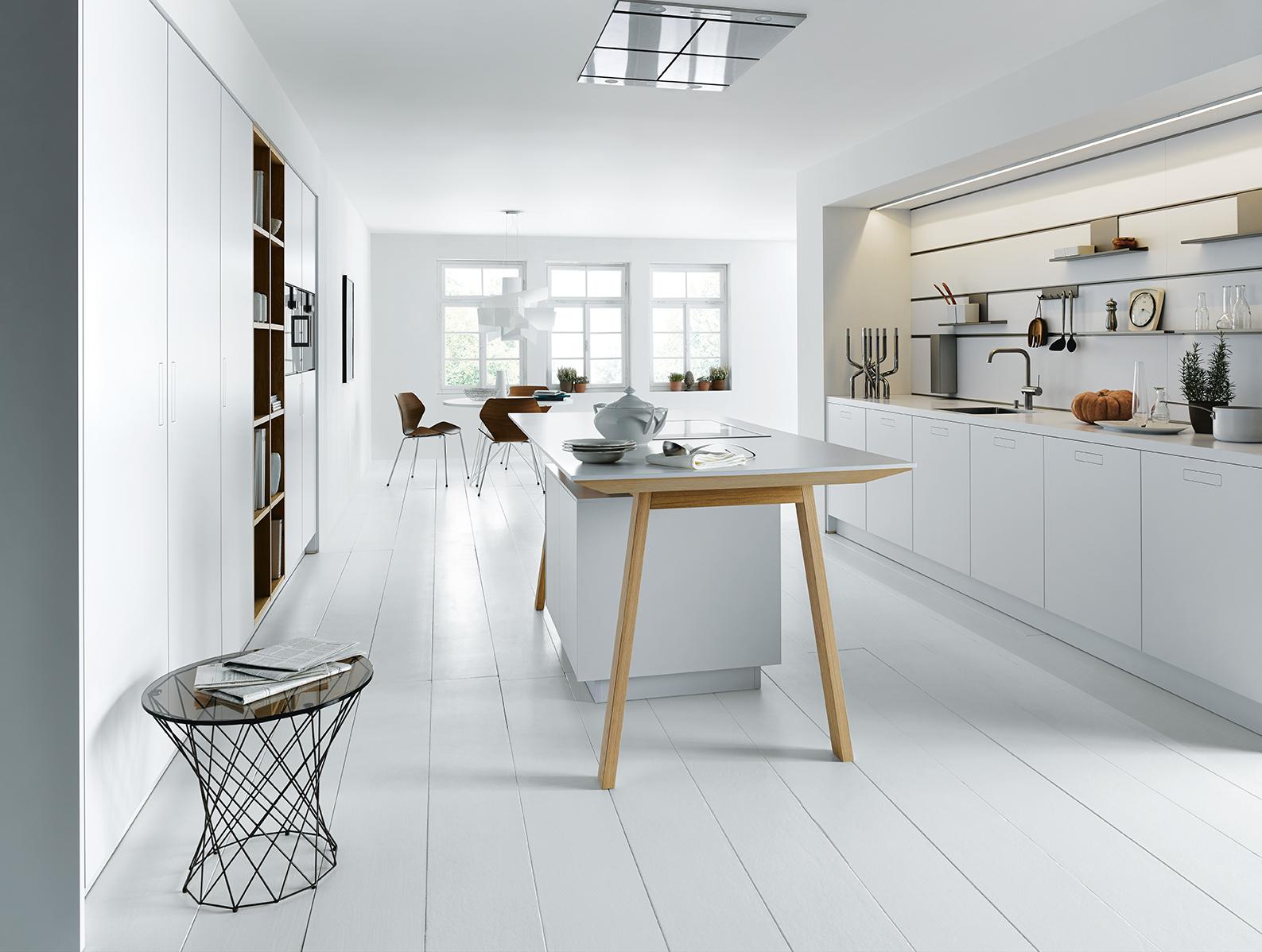 Cuisine équipée blanche de la marque Next 125 installateur littoz annecy