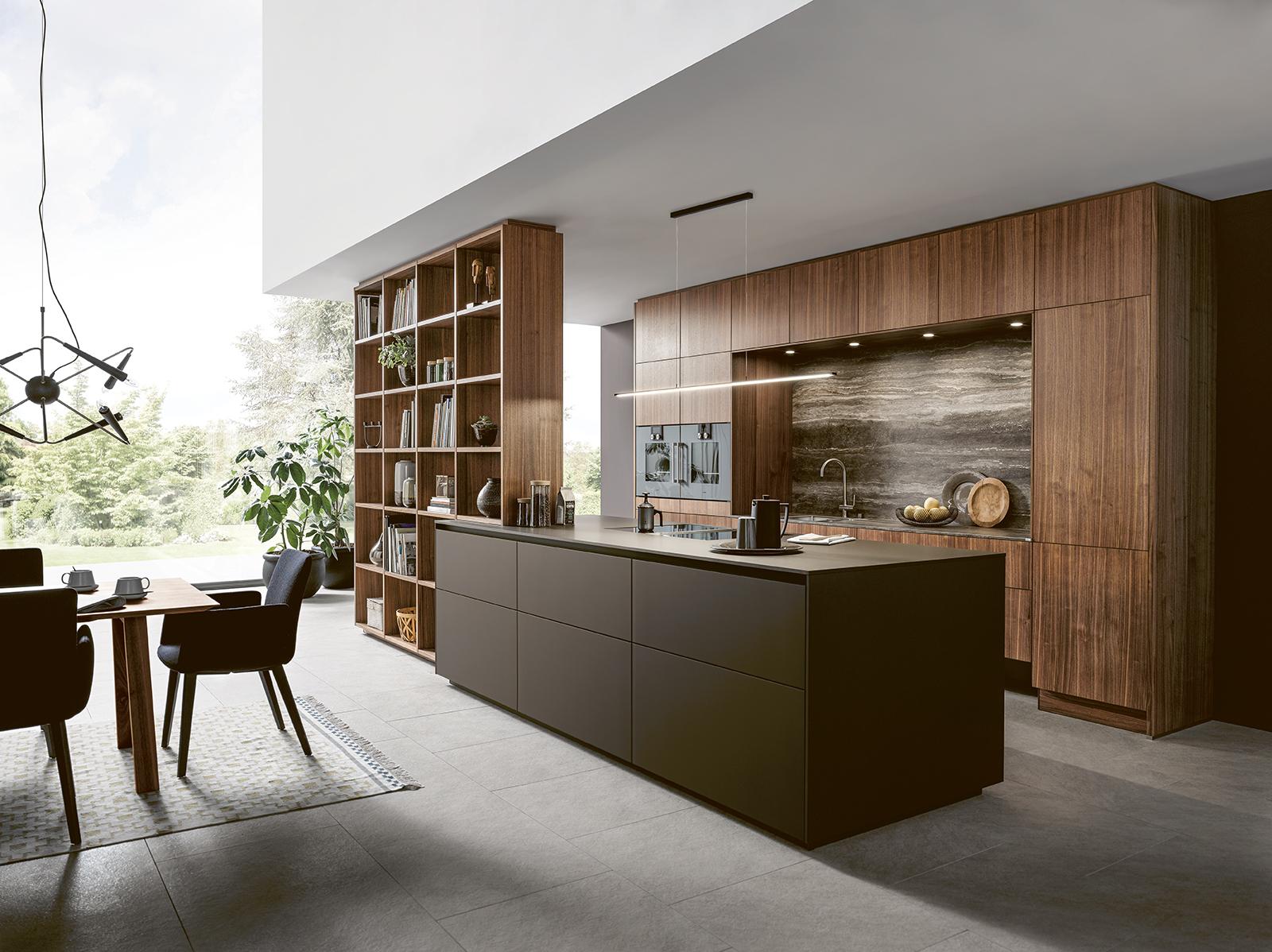 Cuisine équipée épurée design contemporain et moderne avec intérieur chaleureux