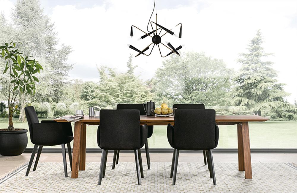 salon influence moderne lumineux haut de gamme avec table en bois