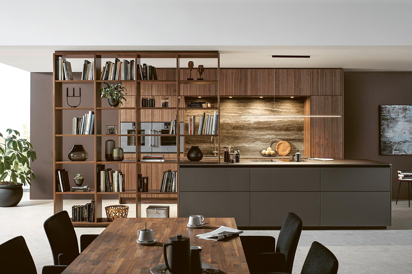 vue globale habitat moderne avec salon et cuisine aménagée intégrée moderne et unique influence contemporaine