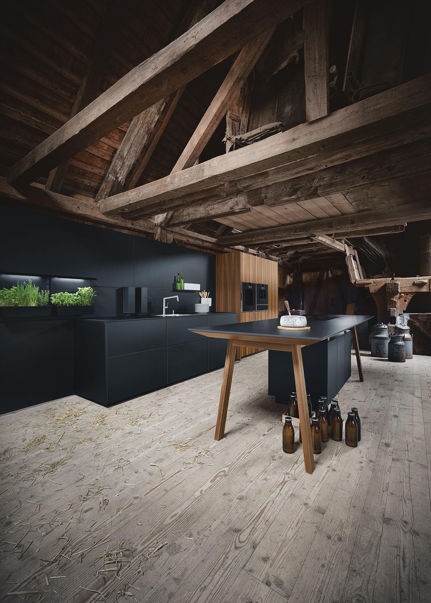 Cuisine ultra moderne bois et marbre noir alliance style nordique scandinave
