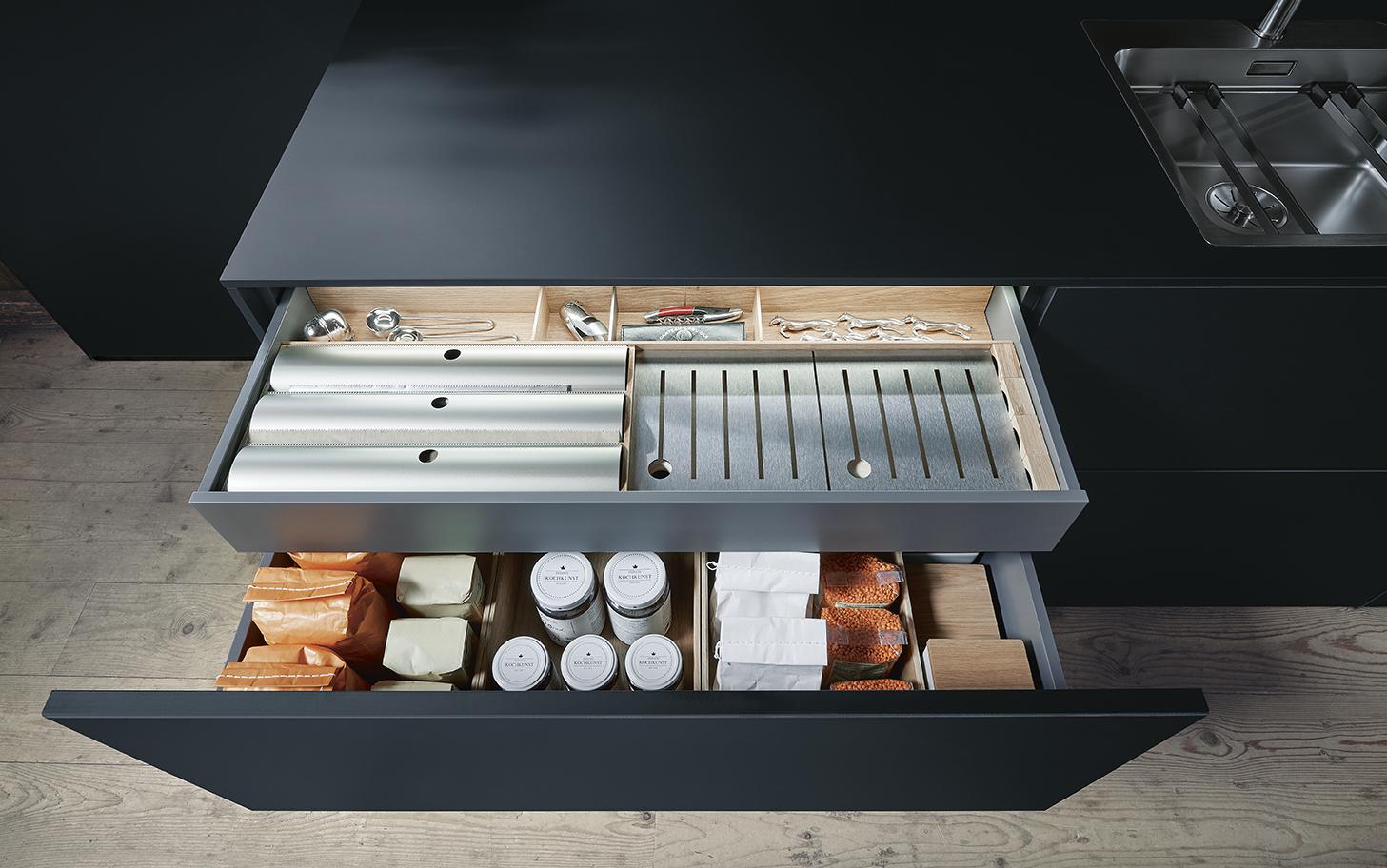 Cuisine Next 125 rangement tiroir design et expérience utilisateur soignée