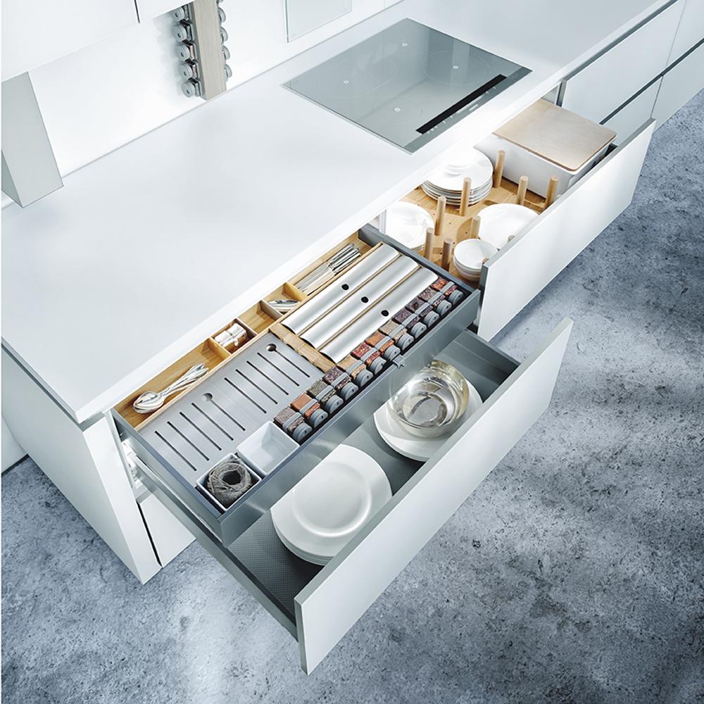 meuble de rangement pour cuisine équipée contemporaine épuré design industriel
