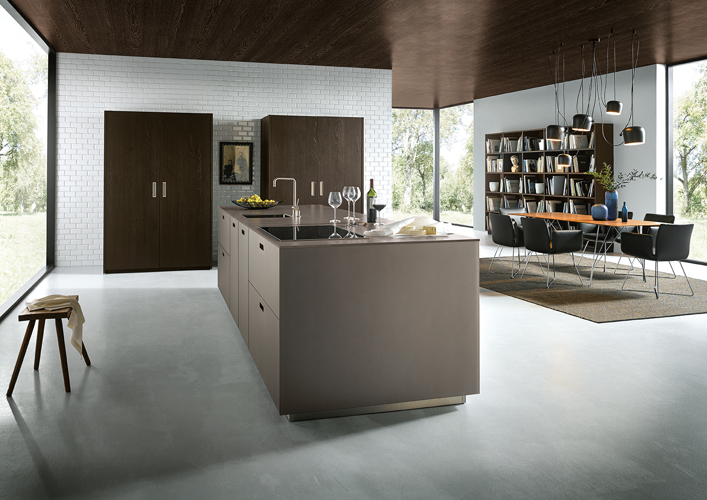 Cuisine et salon au design épuré haut de gamme style moderne