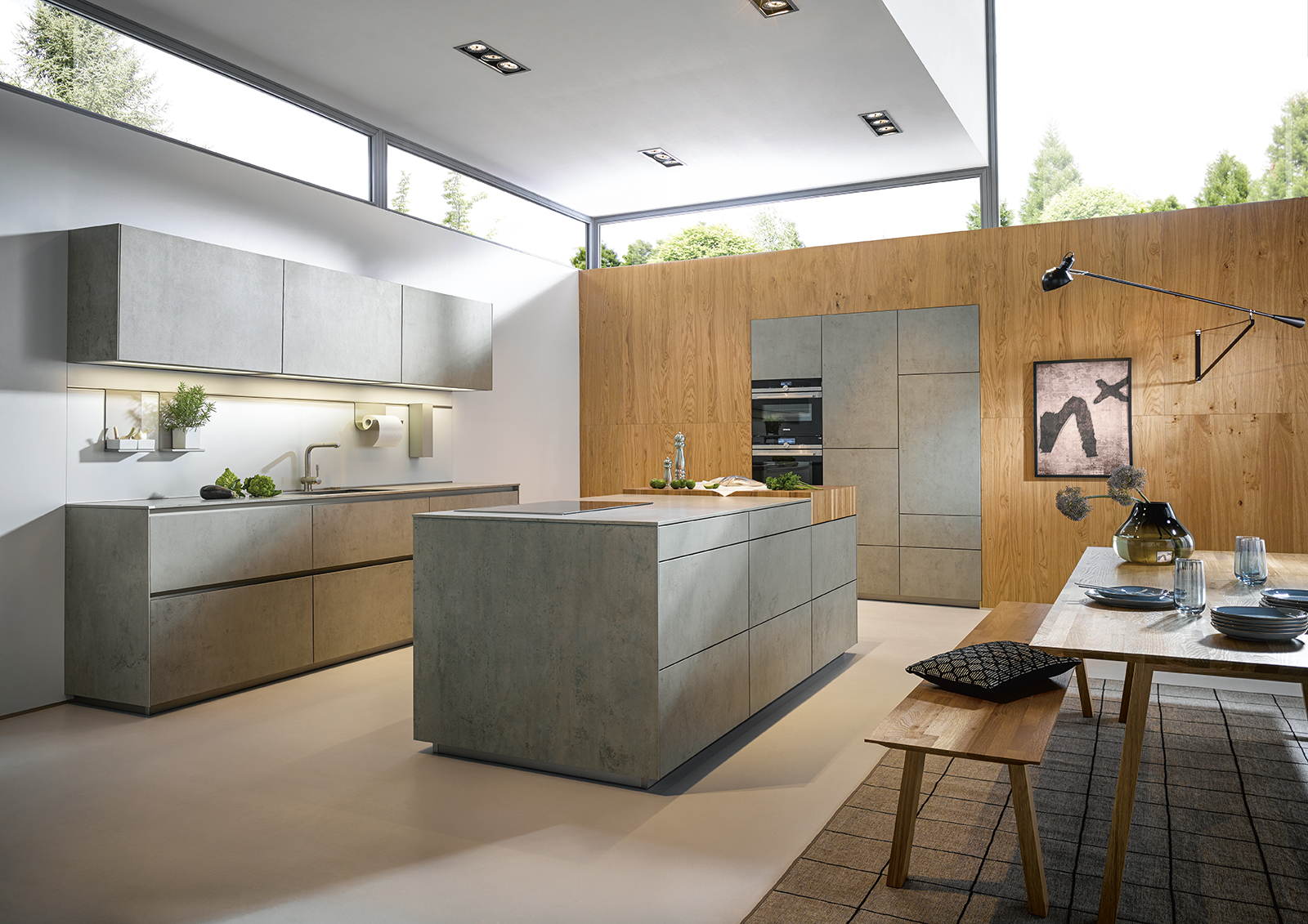 Showroom cuisine moderne style béton industriel épuré littoz