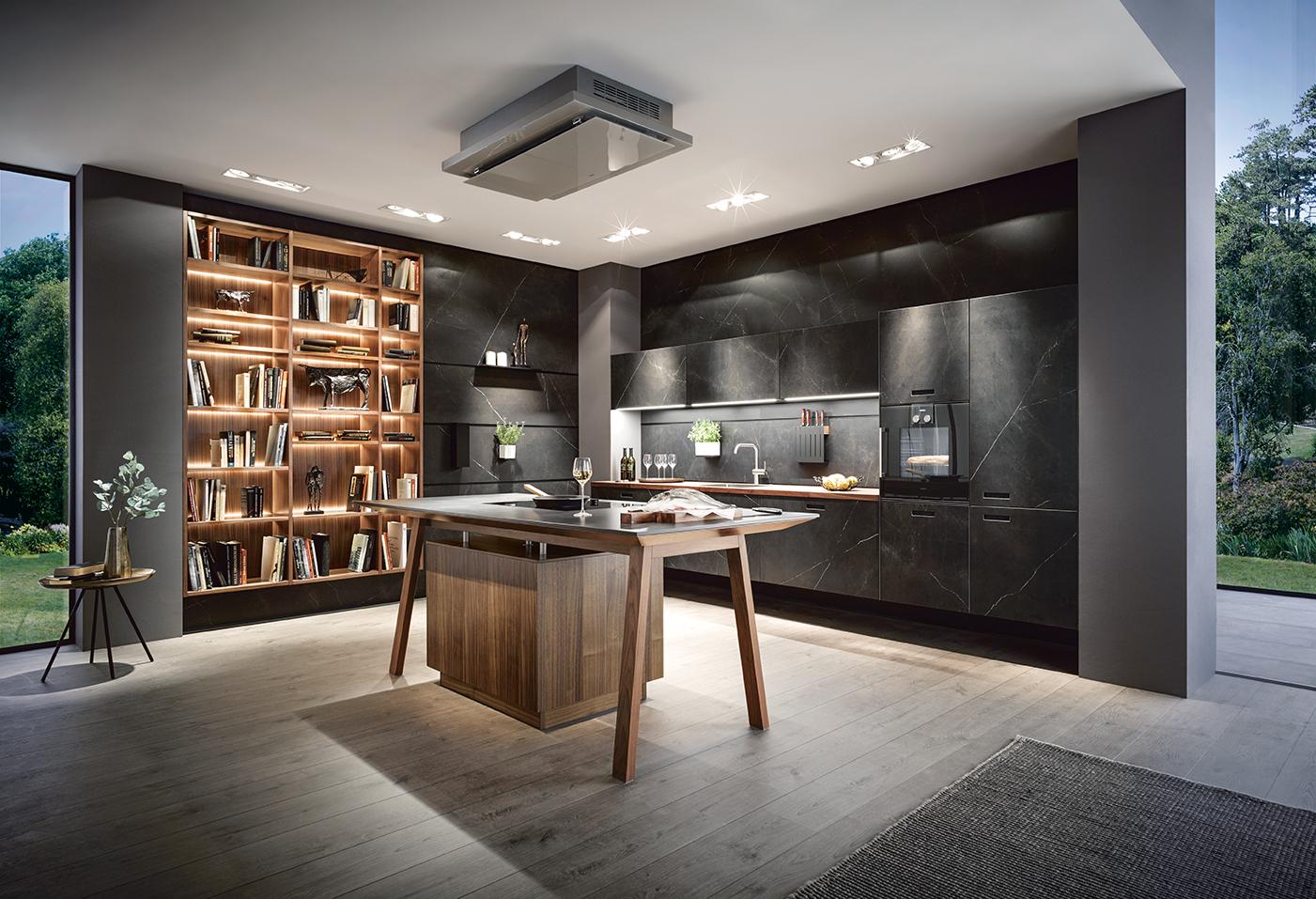Cuisine aménagée et équipée haut de gamme personnalisée marque next125 bois et marbre noir annecy