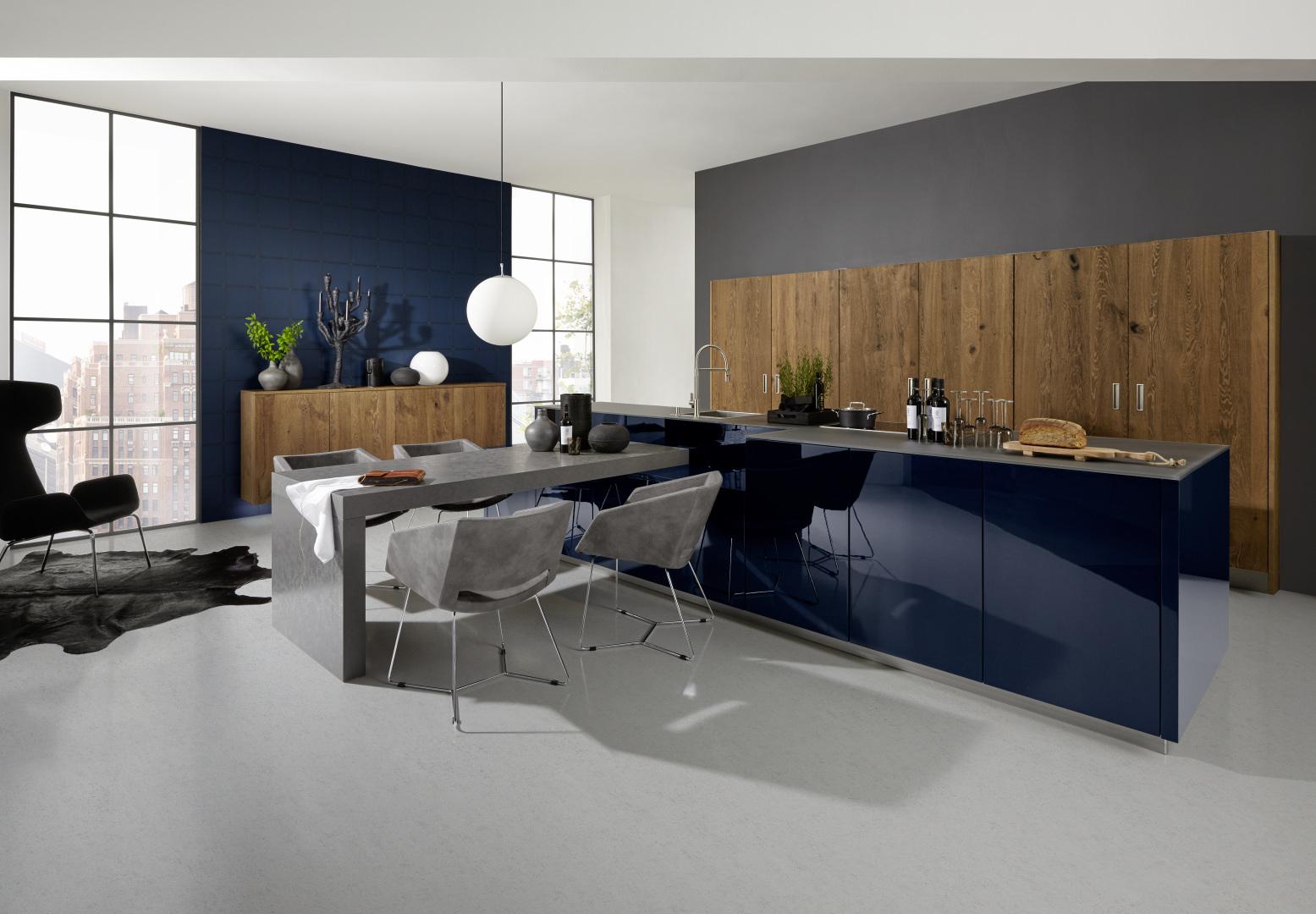 cuisine ergonomique moderne et design contemporain îlot central bois et laque