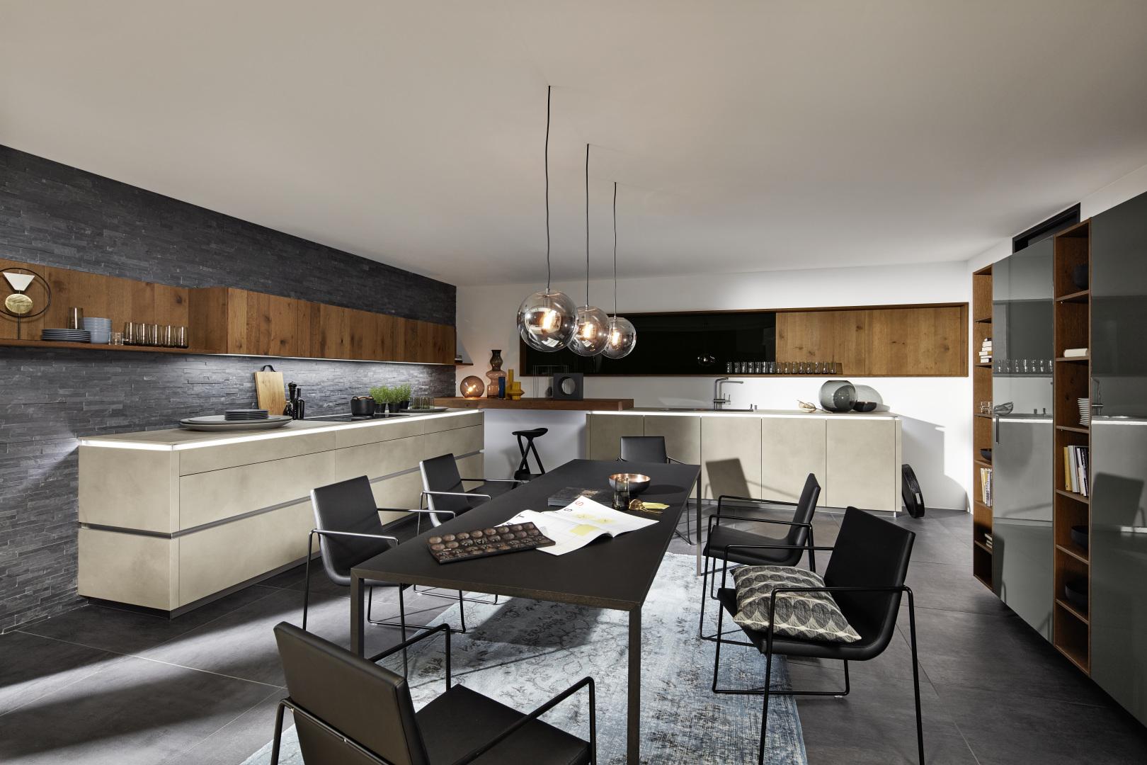 grande cuisine et pièce à manger moderne design contemporain avec bois épuré unique sur mesure