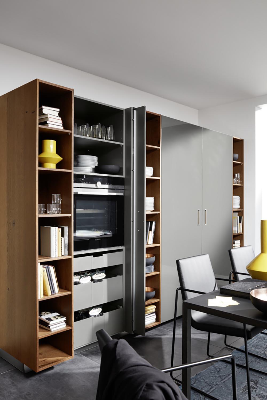 bibliothèque étagère aménagement moderne bois et noir unique salon