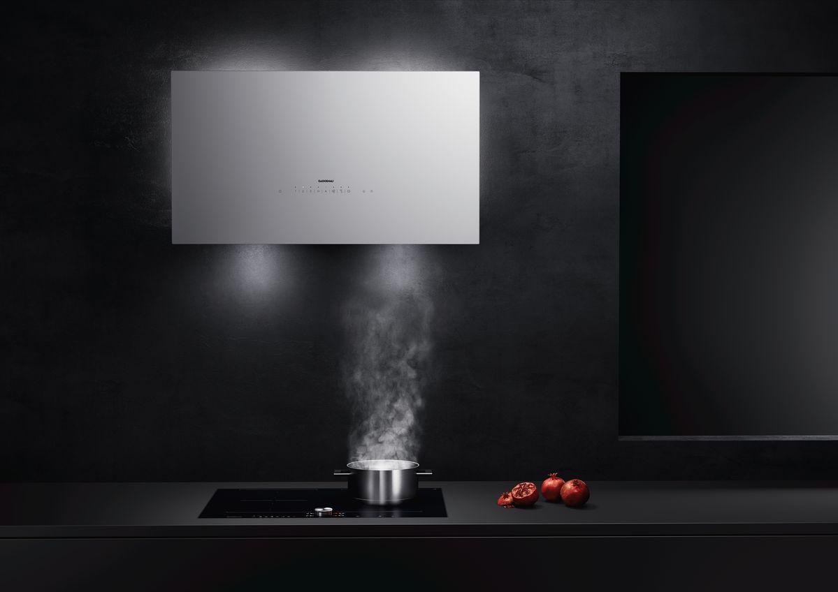 Hotte aspirante blanche moderne marque Gaggenau cuisine installée par Intérieur Littoz